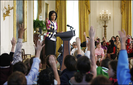 "Michelle Obama atkes questions from a group of children during the White House's annual ""Take Your Child to Work Day"""