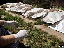 Body bags containing remains of Kosovo Albanians buried in mass graves at Batajnica near Belgrade, Serbia, in 1999  (9 Aug 2005)