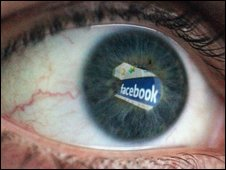 Facebook logo in human eye, Getty