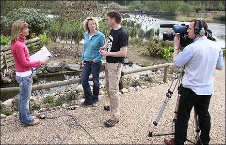 Julie Reinger records an interview with Kate Humble and Chris Packham
