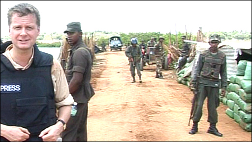 The BBC's Charles Haviland  with Sri Lankan forces