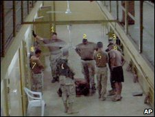 Photo purportedly taken at the Abu Ghraib prison in Baghdad, Iraq (Courtesy of Guy L. Womack)