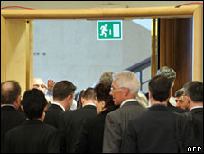 Delegates at the UN racisms conference walk out during Mahmoud Ahmadinejad's speech, 20 April 2009