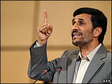 Iranian President Mahmoud Ahmadinejad makes a speech at the UB racisms conference in Geneva