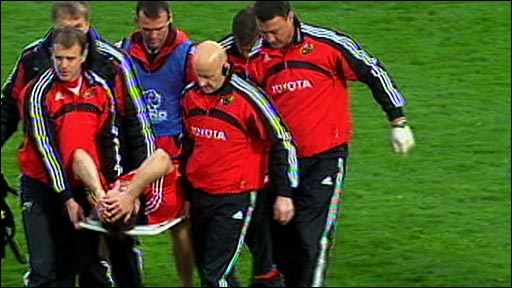 Tomas O'Leary is stretchered off
