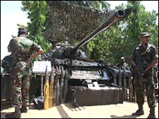 A Tiger tank said to have been captured by the 58th division of the Sri Lankan army at Kilinochchi