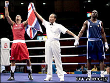 James DeGale celebrates winning gold in Beijing