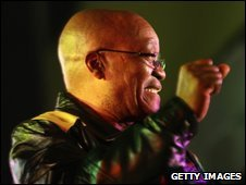 Jacob Zuma at a victory rally on 23 April in Johannesburg