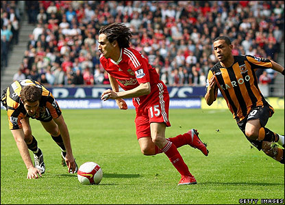 Liverpool's Yossi Benayoun attempts to create an opening for his side