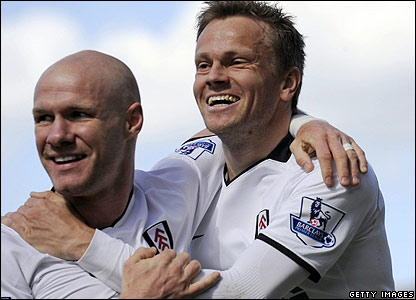 Fulham's Andy Johnson and Erik Nevland celebrate
