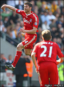 Xabi Alonso celebrates putting Liverpool ahead