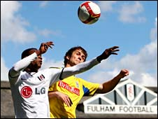 John Pantsil and Stoke's Danny Pugh duel in the sun at Craven Cottage