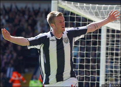 West Brom's Chris Brunt celebrates scoring the second