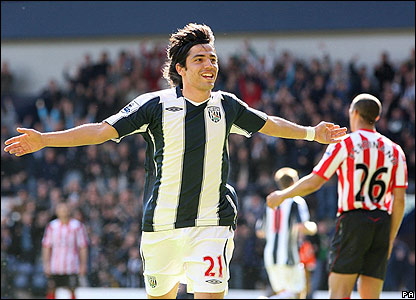 Juan Carlos Menseguez celebrates his goal for West Brom