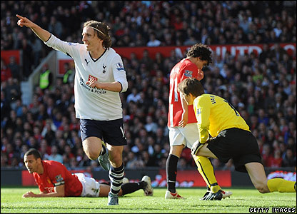 Luka Modric celebrates scoring the second for Spurs