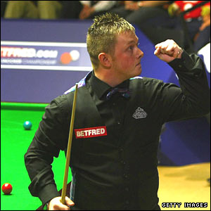 Mark Allen celebrates victory over Ronnie O'Sullivan