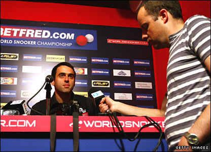 Ronnie O'Sullivan faces the media after his defeat