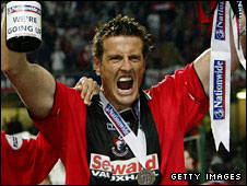 Steve Fletcher celebrates after scoring for Bournemouth in their 2003 play-off final win at the Millennium Stadium