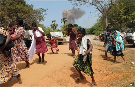 An undated photo released by pro-Tamil media which reportedly shows a government air strike inside a no-fire zone and civilians fleeing
