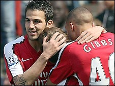 Arsenal captain Cesc Fabregas (left) celebrates his goal against Middlesbrough with Andrey Arshavin (centre) and Kieran Gibbs