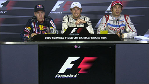Sebastian Vettel, Jenson Button and Jarno Trulli