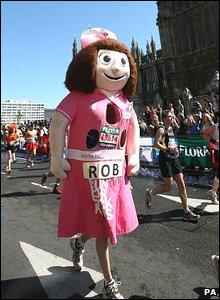 Runner in giant nurse costume