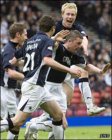 Tam Scobbie celebrates his goal at Hampden