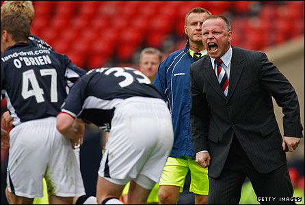 John Hughes urges his players on at Hampden
