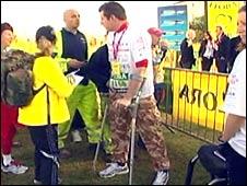 Maj Phil Packer at the start of the London Marathon