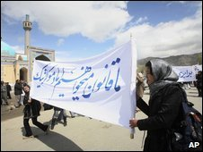 Protesters against Afghanistan's new marriage laws for the Shia community