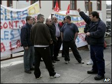 Workers protesting against a factory closure earlier this month