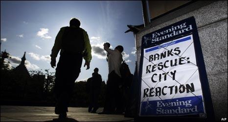 Billboard showing developments from bank rescue