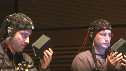 usical performers playing notes using brainwaves
