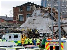 Scene of building explosion