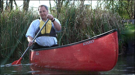 Tony Urwin in his canoe