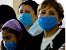 People wearing surgical masks in Mexico City