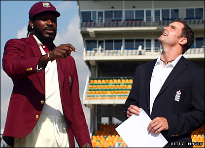 West Indies captain Chris Gayle and England skipper Andrew Strauss