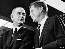Presidents Lyndon Johnson and John F Kennedy