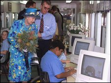 The Queen meets children learning computer skills