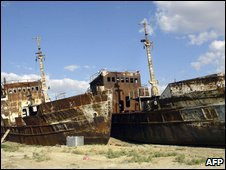 File photo of marooned ships near the town of Aralsk, 2005