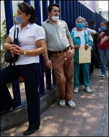 Mexicans wearing surgical masks 