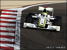 Jenson Button's Brawn car during the Bahrain Grand Prix weekend