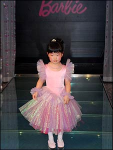 Chinese girl dressed as Barbie