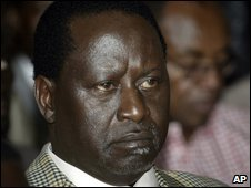 Raila Odinga in Nairobi on 11 January 2008