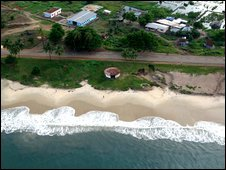 Aerial view of a Sierra Leone beach
