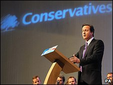 David Cameron addressing the Conservative's Spring Forum in Cheltenham