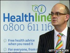 Tony Ryall, Minister of Health, speaks to the media during a press conference at the Ministry of Health on April 28, 2009