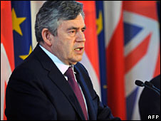 Gordon Brown at the press conference in Warsaw