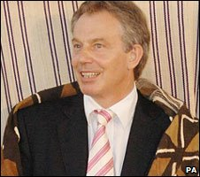 Tony Blair being made an honorary chief in 2007