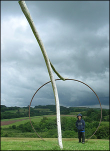 Alan John's son Neil poses by an unusual structure at the National Botanic Garden of Wales, Carmarthenshire.
